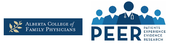 Banner for Alberta College of Family Physicians (ACFP) and Patients Experience Evidence Research (PEER)