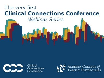 Poster of the very first Clinical Connections Conference Webinar Series. Illustration of a city skyline in blue with red, yellow, and green underlay.